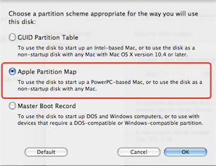 Select Apple Partition Map on Mac OS 10.5